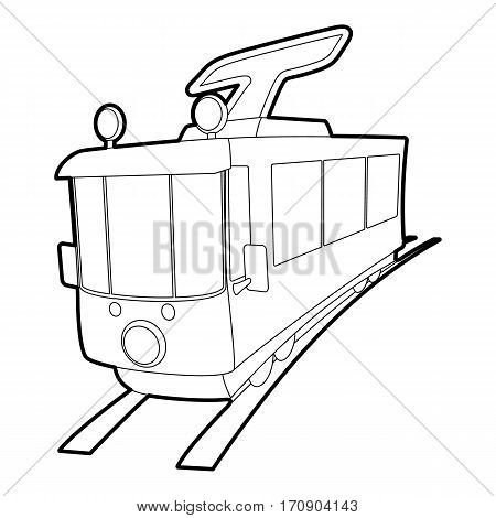 Tram icon. Outline illustration of tram vector icon for web