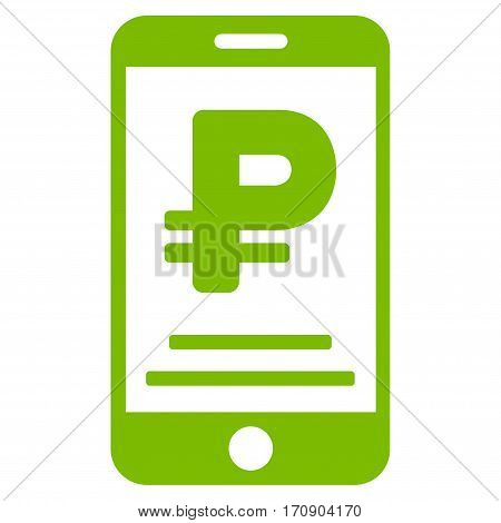 Rouble Mobile Payment vector icon. Illustration style is a flat iconic eco green symbol on white background.