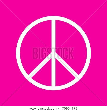 Peace sign illustration. White icon at magenta background.