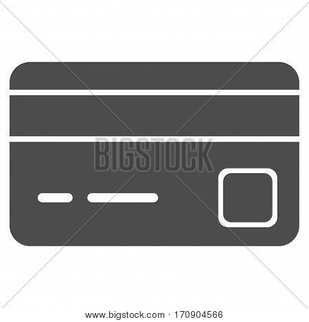 Bank Card vector pictograph. Illustration style is a flat iconic gray symbol on white background.