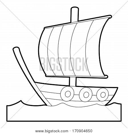 Sailing ship icon. Outline illustration of sailing ship vector icon for web