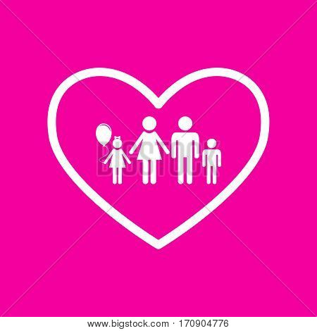 Family sign illustration in heart shape. White icon at magenta background.