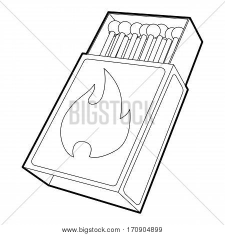 Box matches icon. Outline illustration of box matches vector icon for web
