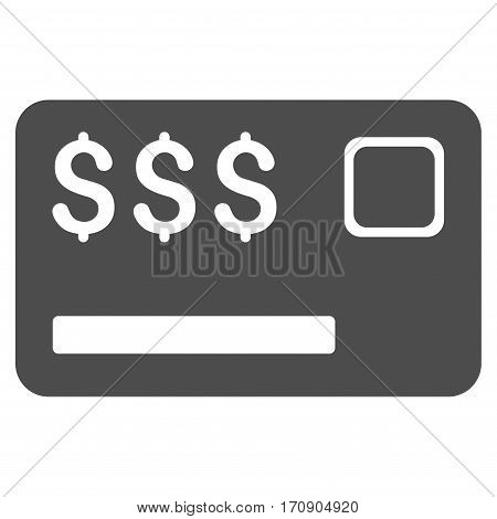 Credit Card vector pictograph. Illustration style is a flat iconic gray symbol on white background.