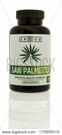 Winneconne WI - 12 February 2017: Bottle of Zhzou saw palmetto on an isolated background.