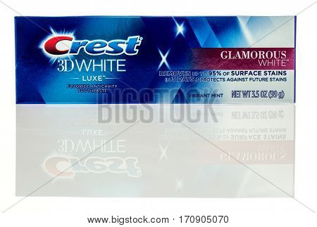 Winneconne WI - 12 February 2017: Package of Crest 3D white luxe toothpaste on an isolated background.