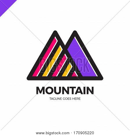 Simple Vector Logo In A Modern Style. Top Of The Mountain In The Form Of Letter M.