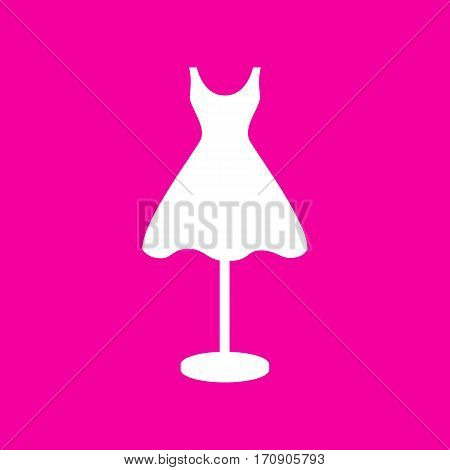 Mannequin with dress sign. White icon at magenta background.