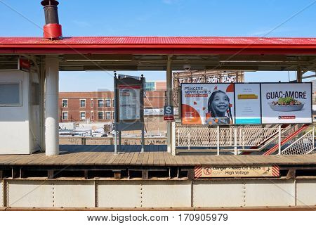 CHICAGO, IL - CIRCA MARCH, 2016: a CTA subway station. Chicago Transit Authority is the operator of mass transit in Chicago and some of its surrounding suburbs
