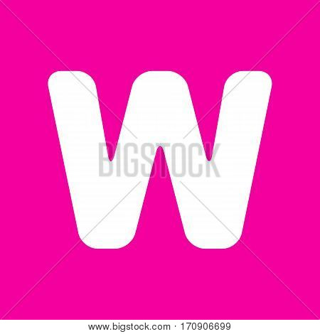 Letter W sign design template element. White icon at magenta background.
