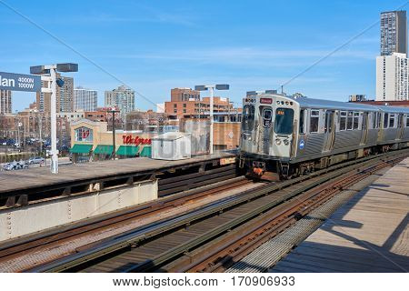 CHICAGO, IL - CIRCA MARCH, 2016: a CTA train at daytime. Chicago Transit Authority is the operator of mass transit in Chicago and some of its surrounding suburbs