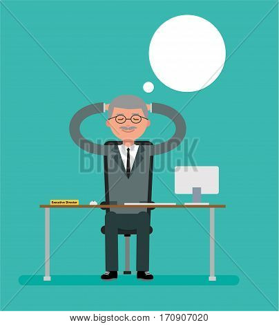 Boss sits at a Desk and dreaming. Cartoon vector flat-style illustration.