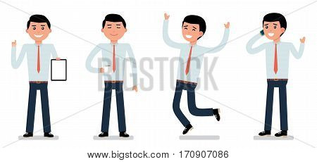 Set of happy male clerk in formal wear, showing positive emotions, successful worker, jumping with joy, professional manager, full length, white background. Cartoon vector flat illustration.