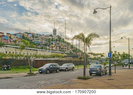 GUAYAQUIL, ECUADOR, FEBRUARY - 2016 - Picturesque colored poor houses at the top of hill at Cerro Santa Ana from Puerto Santa Ana in Guayaquil Ecuador.