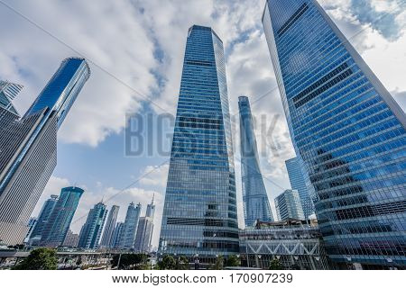 Skyscrapers from a low angle view in ShanghaiChina.