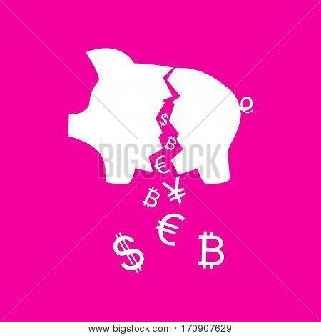Pig money bank sign. White icon at magenta background.