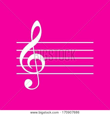 Music violin clef sign. G-clef. White icon at magenta background.