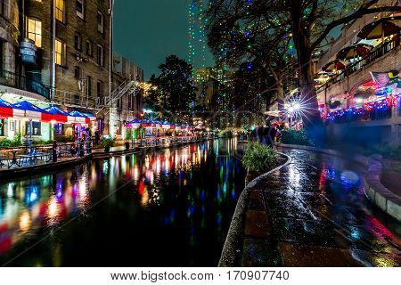The Riverwalk At San Antonio, Texas, At Night.