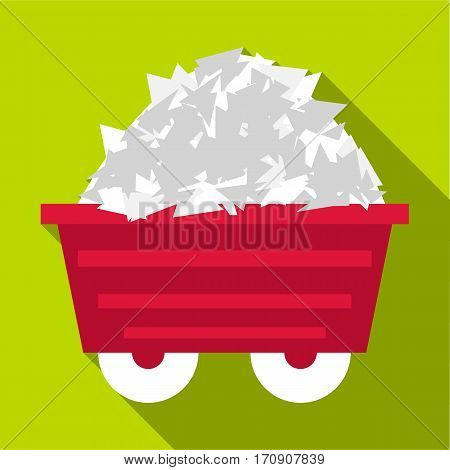 Mine cart icon. Flat illustration of mine cart vector icon for web