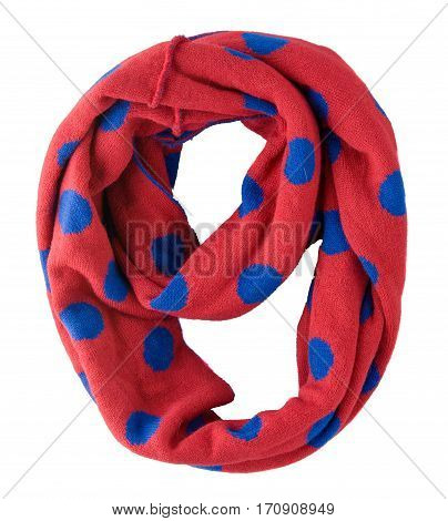 Scarf Isolated On White Background.scarf  Top View .red Scarf In Blue Polka Dots
