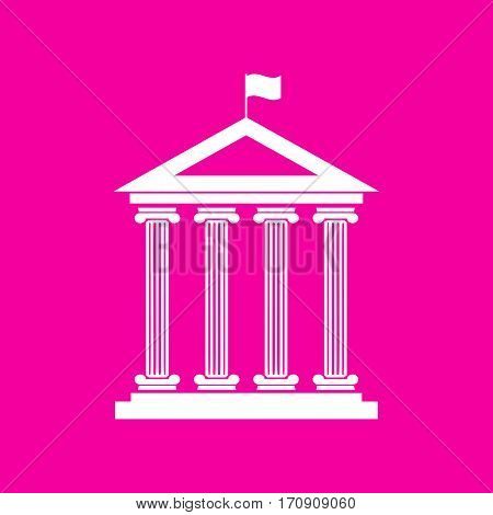 Historical building with flag. White icon at magenta background.