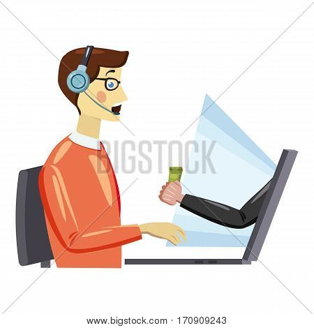 Online work icon. Cartoon illustration of online work vector icon for web