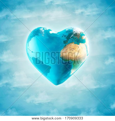 3D Illustration - The earth with heart shape isolated on blue sky