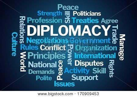 Diplomacy Word Cloud on Blue Background