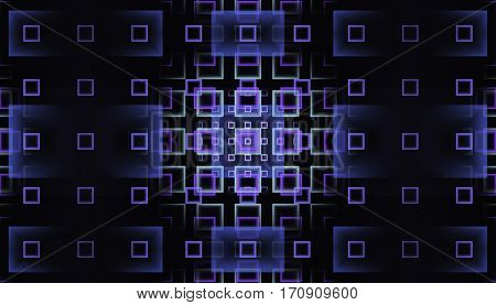 Abstract fractal design with glowing purple gradient rectangles, on dark background