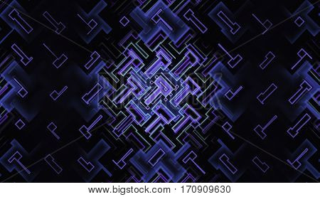 Abstract fractal with glowing circuits on dark background