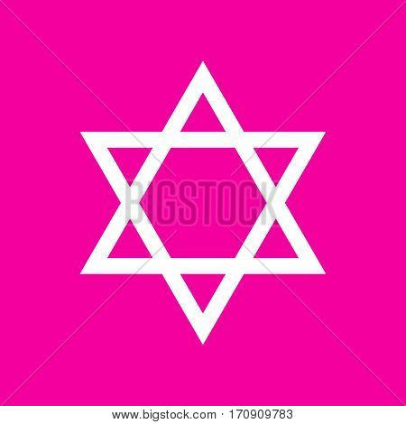 Shield Magen David Star. Symbol of Israel. White icon at magenta background.