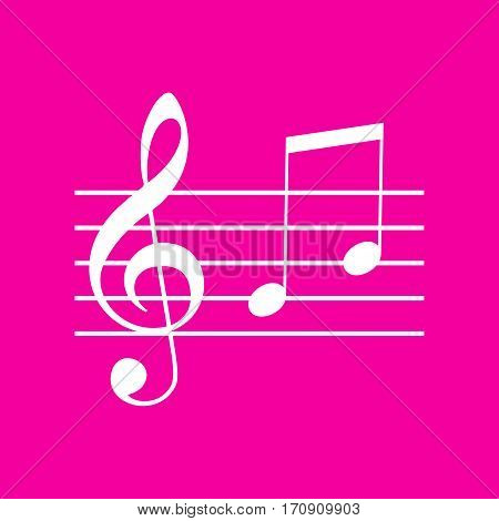 Music violin clef sign. G-clef and notes G, H. White icon at magenta background.
