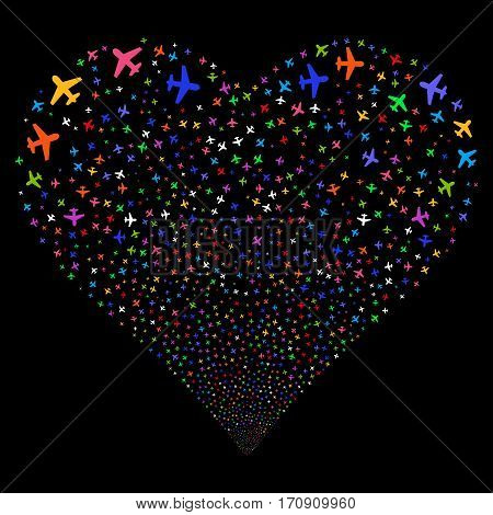 Airplane fireworks with heart shape. Vector illustration style is flat bright multicolored iconic symbols on a black background. Object valentine heart done from confetti symbols.