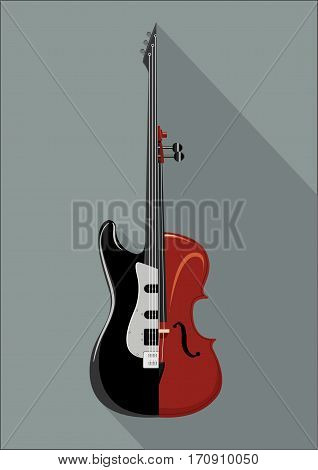 Rock guitar and violin. Isolated musical instrument on white background. Classic and Rock concept.