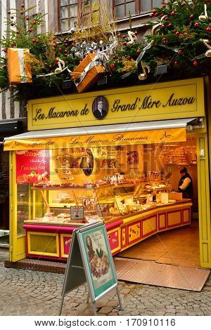 Rouen France - november 26 2016 : macaroon shop in the city center