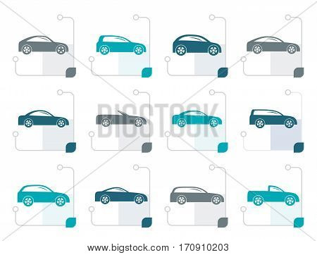 Stylized different types of cars icons - Vector icon set