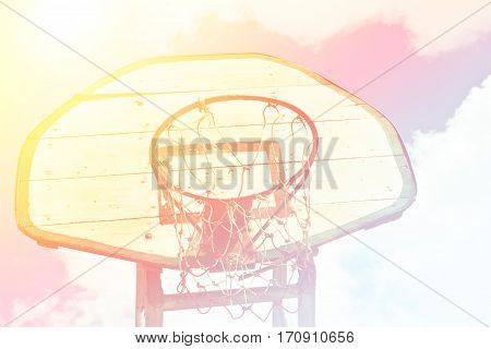 Close up basketball outdoor court sport game