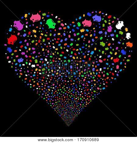 Piggy Bank fireworks with heart shape. Vector illustration style is flat bright multicolored iconic symbols on a black background. Object heart combined from confetti pictograms.