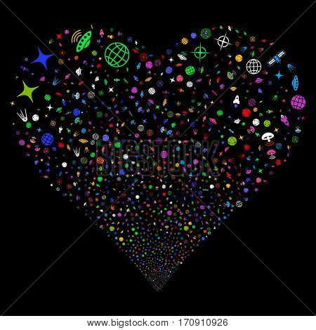 Space Technology Symbols fireworks with heart shape. Vector illustration style is flat bright multicolored iconic symbols on a black background. Object stream combined from scattered pictographs.