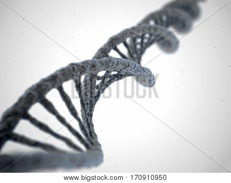 DNA molecule spiral structure on abstract white background. Biology science and medical technology concept. 3D illustration