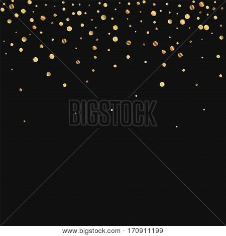 Sparse Gold Confetti. Scatter Top Gradient On Black Background. Vector Illustration.