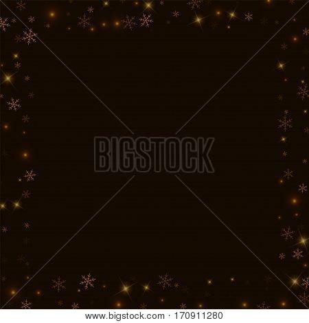 Sparse Starry Snow. Square Scattered Border On Black Background. Vector Illustration.
