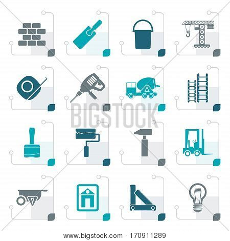 Stylized Construction and Building icons - vector Icon Set