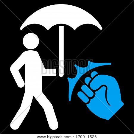Crime Coverage vector icon. Flat bicolor blue and white symbol. Pictogram is isolated on a black background. Designed for web and software interfaces.