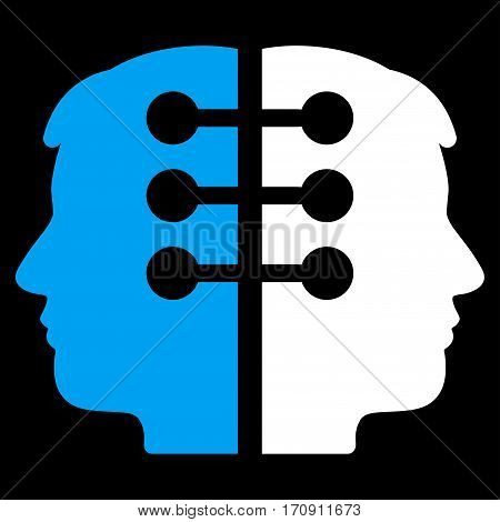 Dual Head Interface vector icon. Flat bicolor blue and white symbol. Pictogram is isolated on a black background. Designed for web and software interfaces.