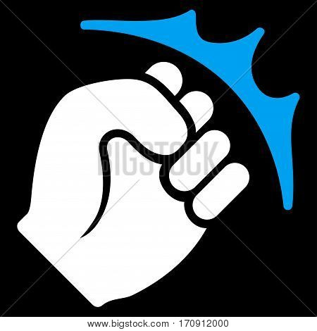 Fist Strike vector icon. Flat bicolor blue and white symbol. Pictogram is isolated on a black background. Designed for web and software interfaces.