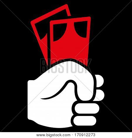 Banknotes Salary Hand vector icon. Flat bicolor red and white symbol. Pictogram is isolated on a black background. Designed for web and software interfaces.