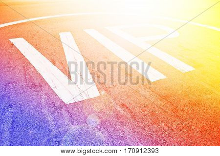 Close up of helicopter parking spot background