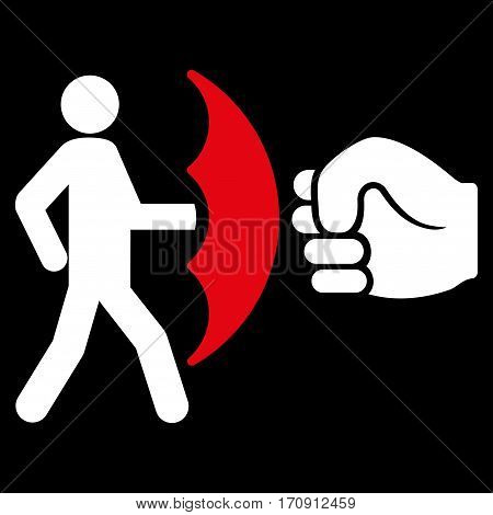 Crime Protection vector icon. Flat bicolor red and white symbol. Pictogram is isolated on a black background. Designed for web and software interfaces.