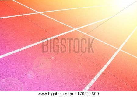 Close up running track rubber standard red color